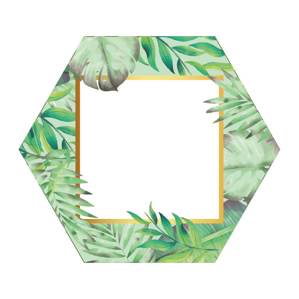 Hexagon Fullcolour Palm Fotolijst Donker Groen