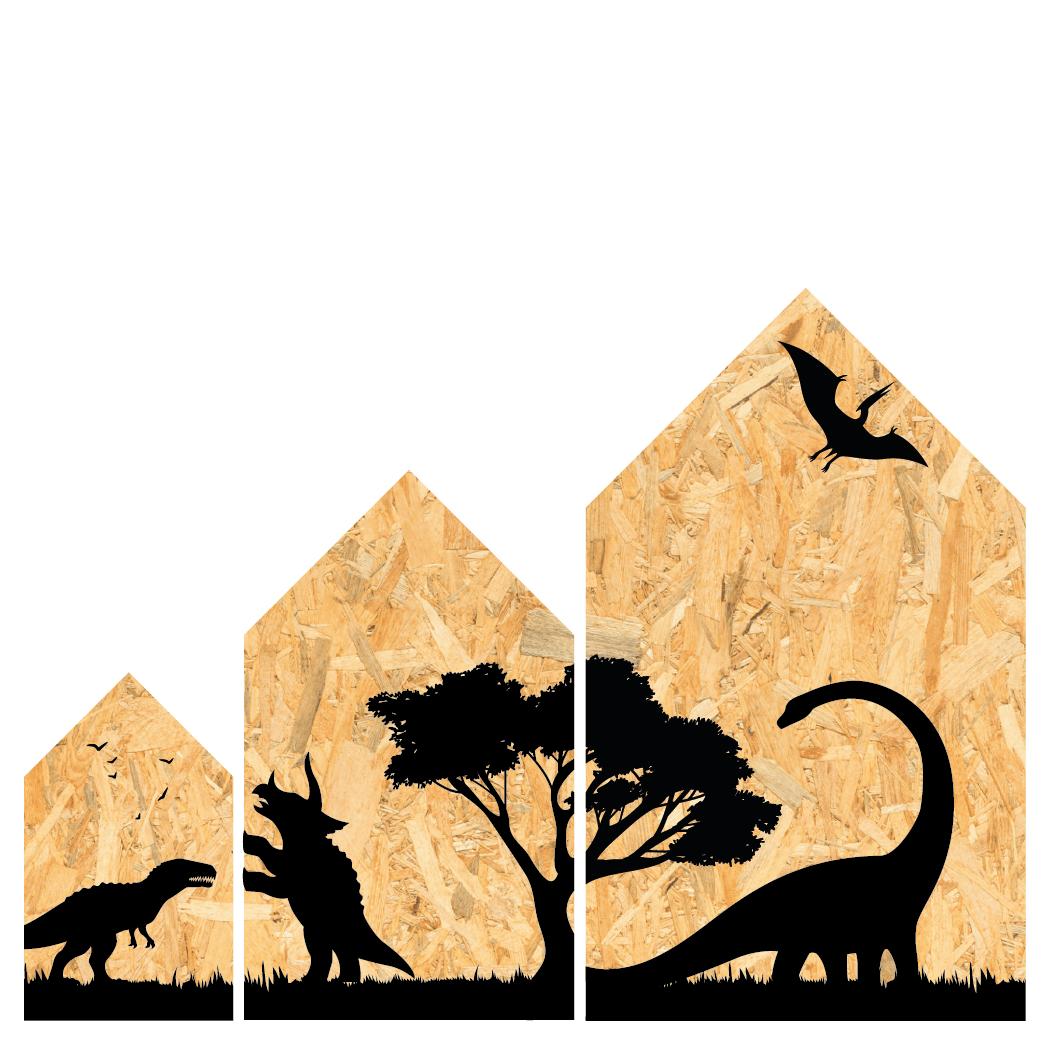 Houten Huisje Dino set (3)