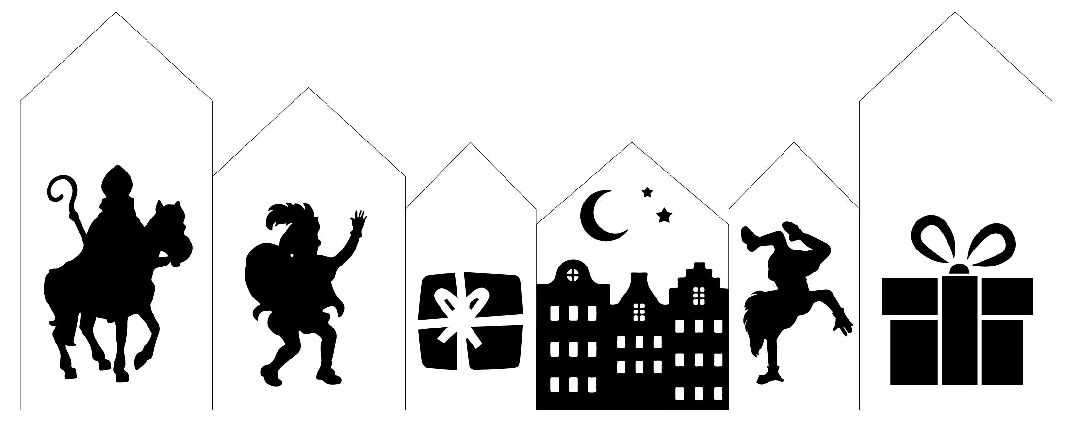 Houten Huisjes Sinterklaas Set 1