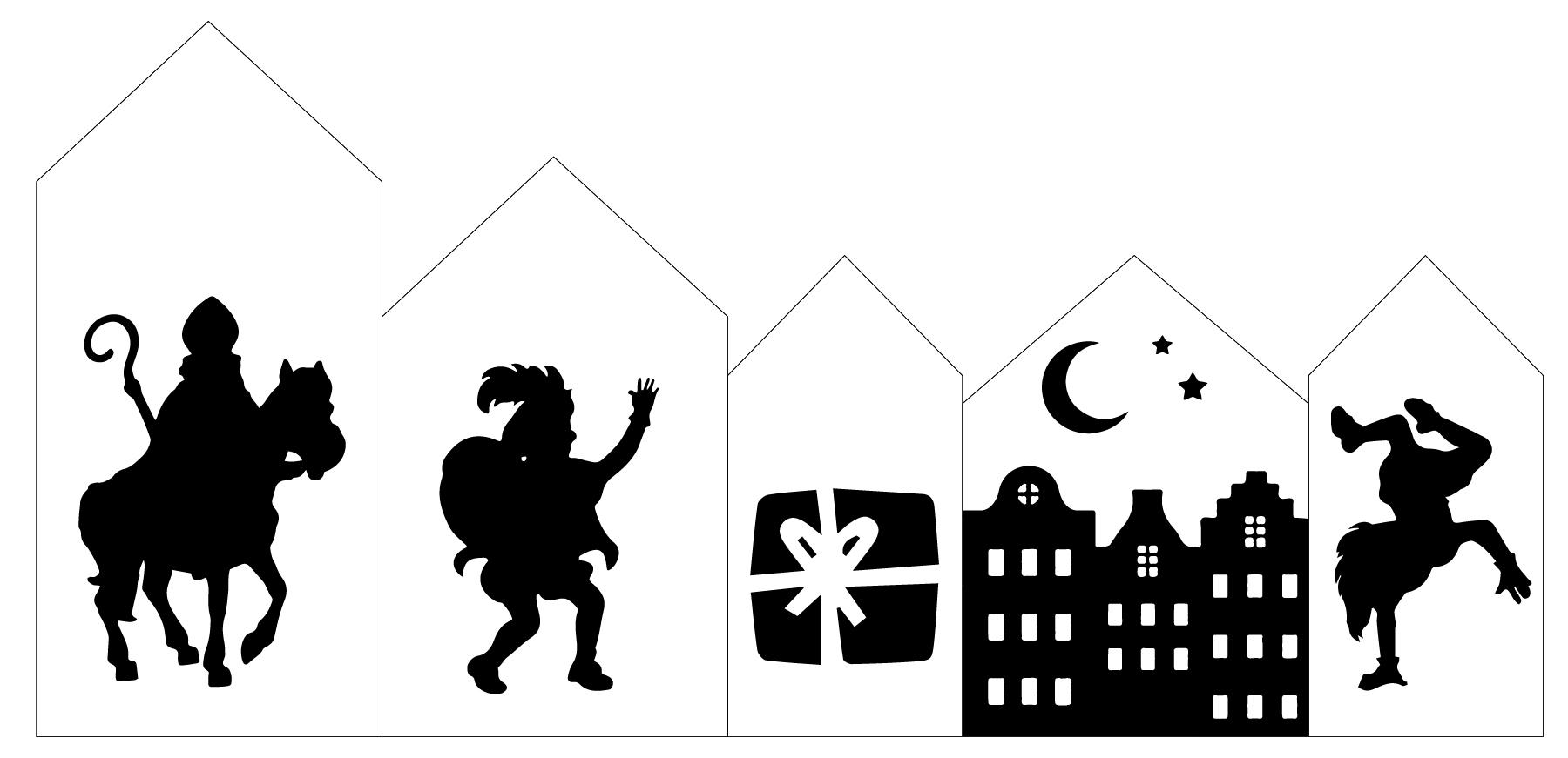 Houten Huisjes Sinterklaas Set 2